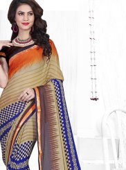 Faux Chiffon Printed Saree in Multi Colour