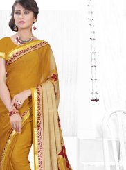 Faux Chiffon Printed Saree in Mustard