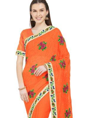 Faux Chiffon Printed Saree in Orange