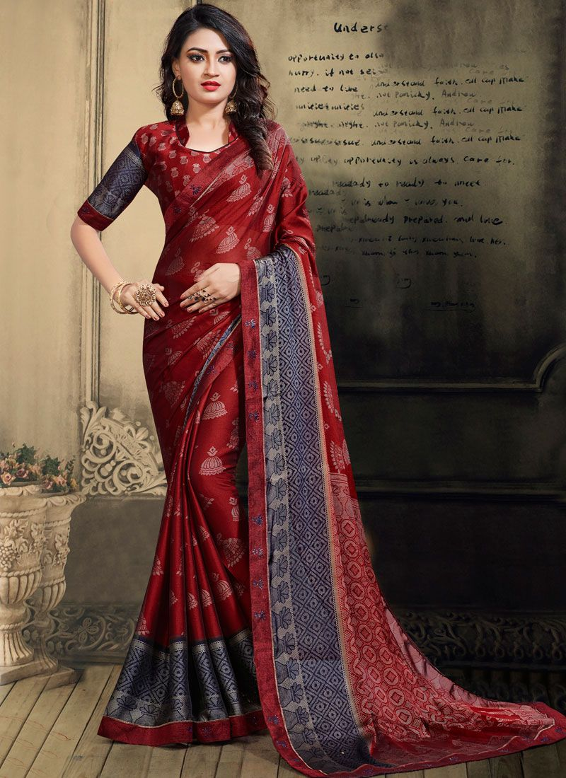 Faux Chiffon Printed Saree in Red