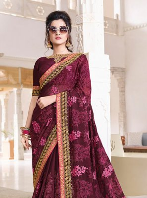 Faux Chiffon Purple Patch Border Traditional Saree