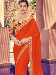 Faux Chiffon Red Border Trendy Saree