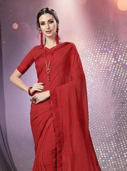 Faux Chiffon Red Embroidered Casual Saree
