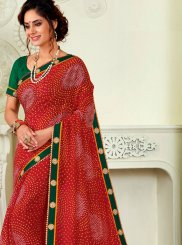 Faux Chiffon Red Print Saree