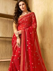 Faux Chiffon Red Printed Saree