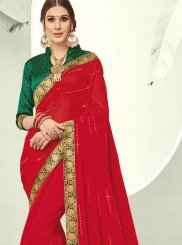 Faux Chiffon Red Trendy Saree