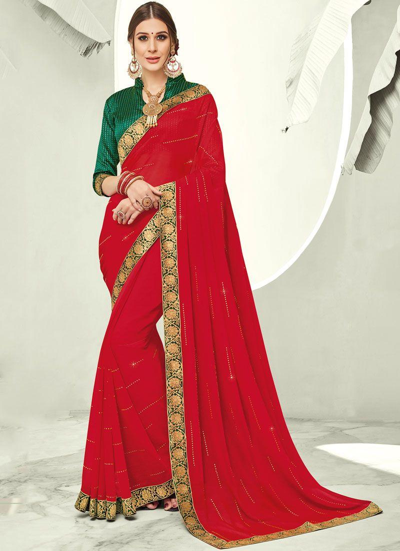 Faux Chiffon Red Trendy Saree