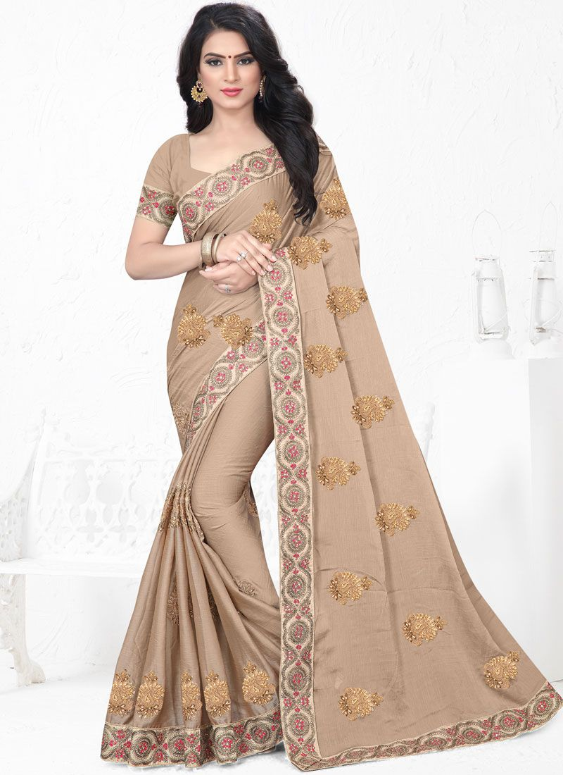 Faux Chiffon Saree in Beige