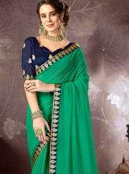 Faux Chiffon Sea Green Saree