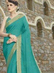 Faux Chiffon Sea Green Weaving Trendy Saree
