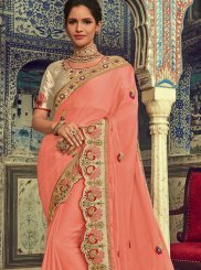 Faux Chiffon Traditional Designer Saree in Peach