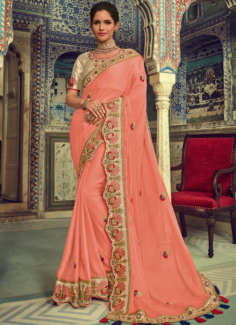 Faux Chiffon Traditional Designer Saree in Peach