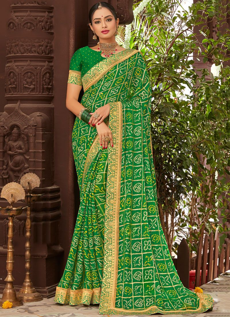 Faux Chiffon Traditional Saree in Green