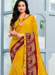 Faux Chiffon Yellow Printed Trendy Saree