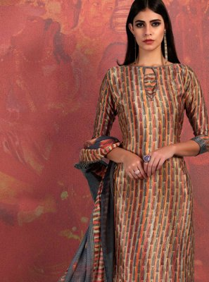 Faux Crepe Abstract Print Brown Churidar Suit