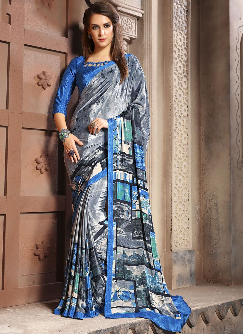 Faux Crepe Abstract Print Casual Saree in Multi Colour