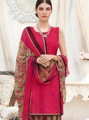 Faux Crepe Abstract Print Hot Pink Punjabi Suit
