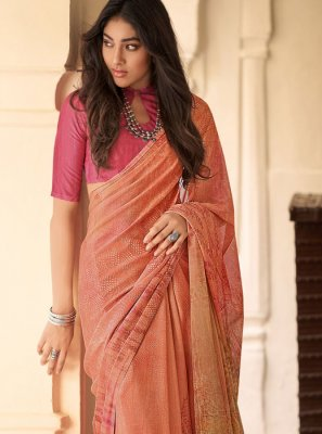 Faux Crepe Abstract Print Peach Printed Saree