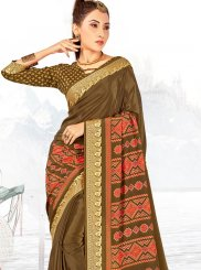 Faux Crepe Abstract Print Printed Saree