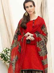 Faux Crepe Abstract Print Punjabi Suit in Red