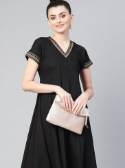 Faux Crepe Black Plain Party Wear Kurti