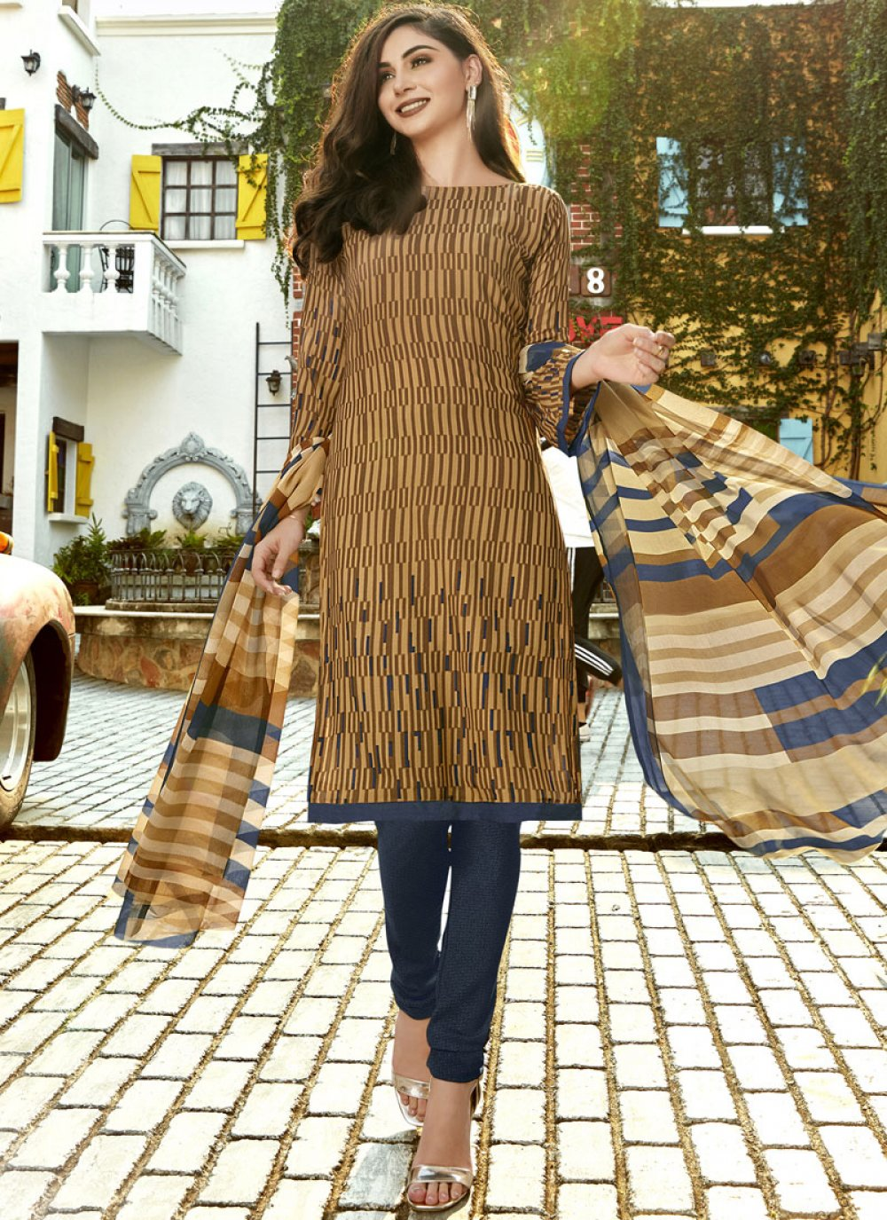 Faux Crepe Casual Churidar Suit