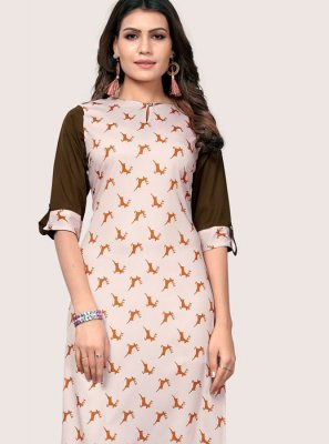 Faux Crepe Casual Kurti in Off White