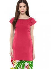 Faux Crepe Casual Kurti in Pink