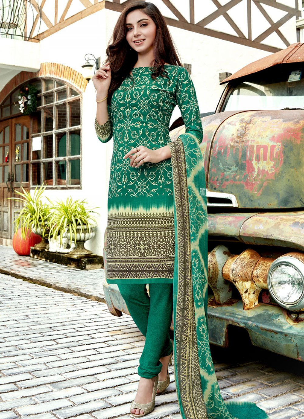 Faux Crepe Churidar Suit