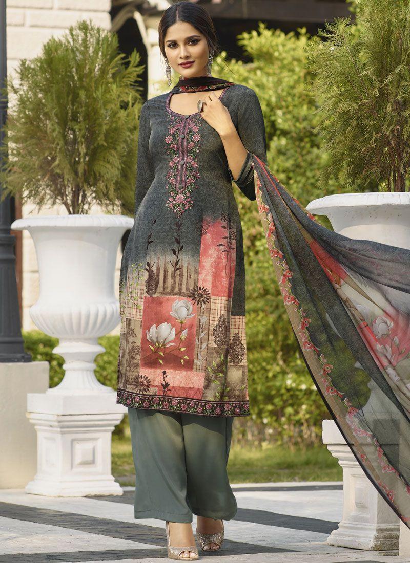 Faux Crepe Designer Salwar Kameez in Multi Colour