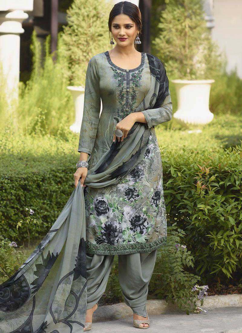 Faux Crepe Embroidered Designer Salwar Suit in Grey
