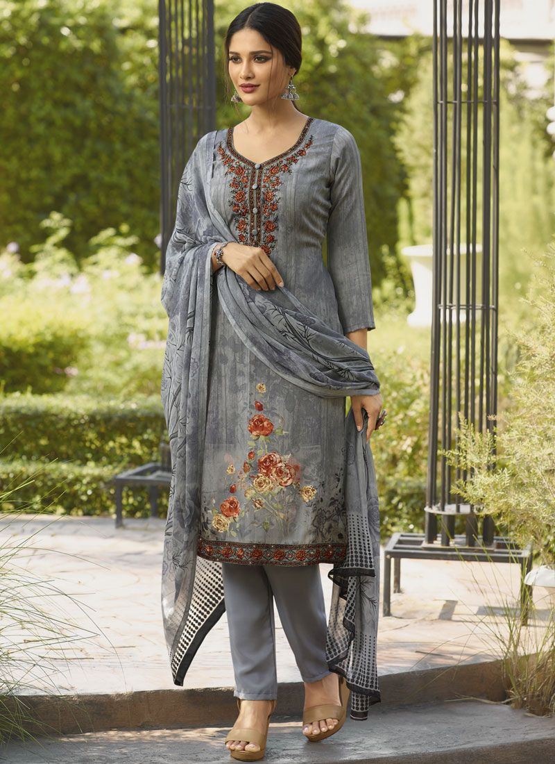 Faux Crepe Embroidered Grey Salwar Suit