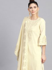 Faux Crepe Fancy Cream Readymade Suit
