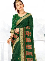 Faux Crepe Green Printed Saree