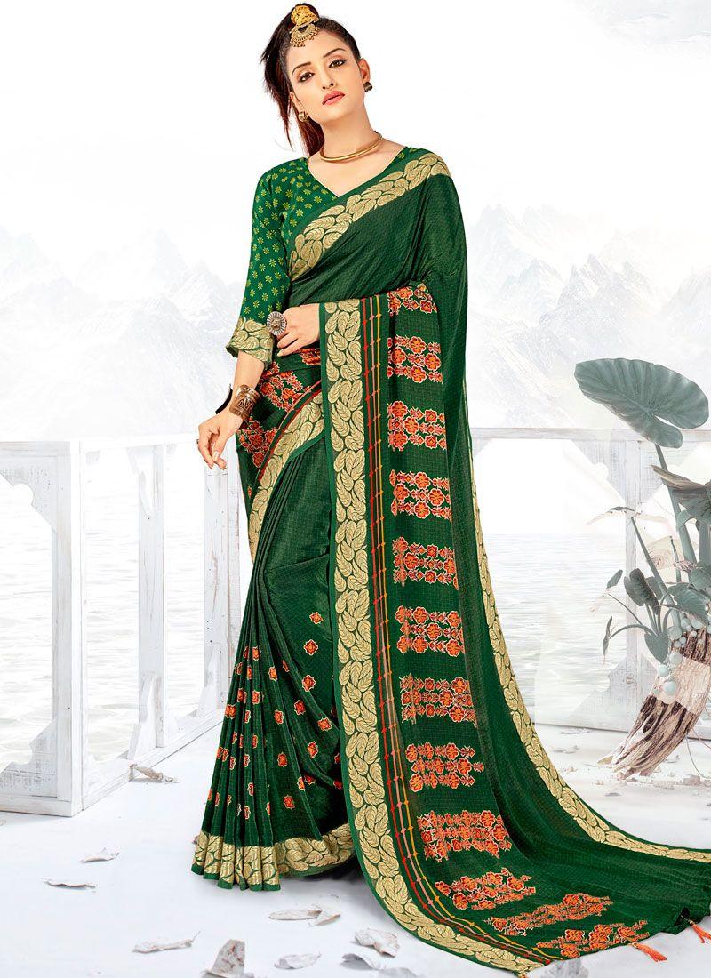 Faux Crepe Green Printed Saree