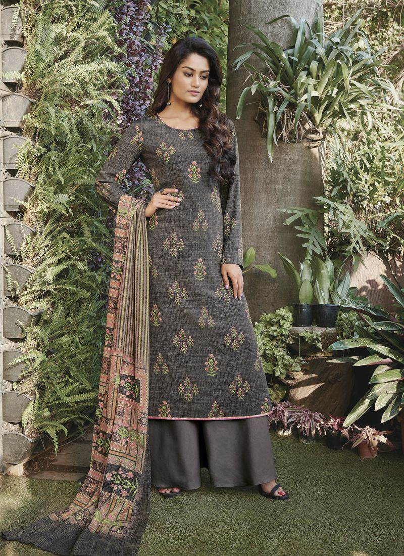 Faux Crepe Grey Designer Pakistani Suit
