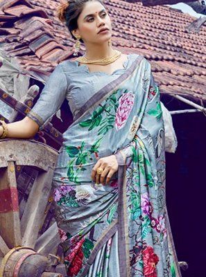 Faux Crepe Grey Digital Print Casual Saree