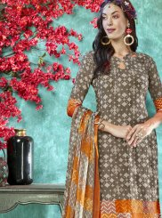 Faux Crepe Grey Printed Salwar Suit