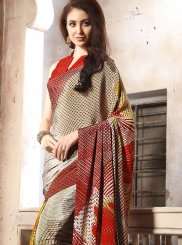 Faux Crepe Multi Colour Abstract Print Casual Saree
