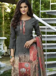 Faux Crepe Multi Colour Abstract Print Churidar Suit