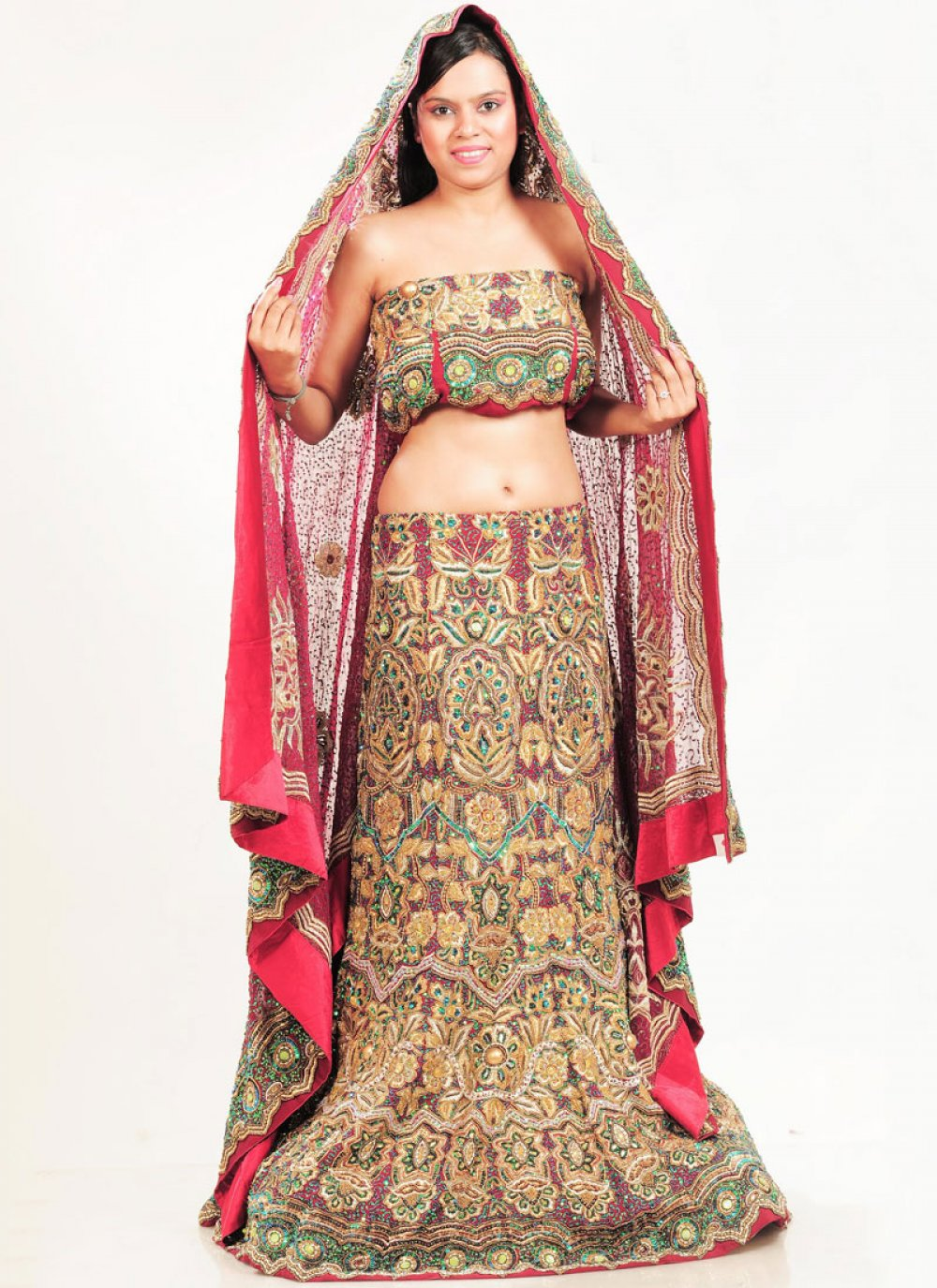 Faux Crepe Multi Colour Embroidered Lehenga Choli