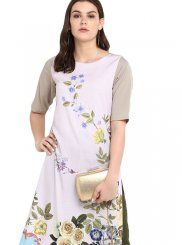 Faux Crepe Multi Colour Print Casual Kurti