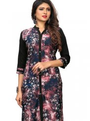 Faux Crepe Multi Colour Printed Casual Kurti