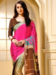 Faux Crepe Multi Colour Trendy Saree
