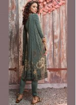 Faux Crepe Pant Style Suit in Sea Green