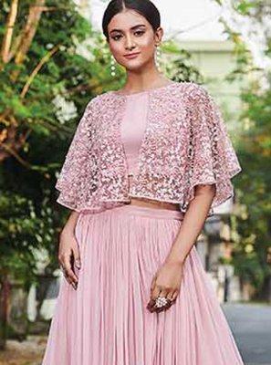 Faux Crepe Pink Thread Designer Salwar Kameez