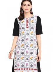 Faux Crepe Print Multi Colour Casual Kurti
