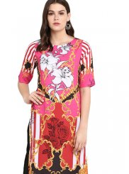 Faux Crepe Print Multi Colour Party Wear Kurti