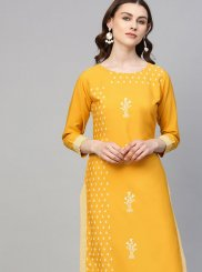 Faux Crepe Print Party Wear Kurti