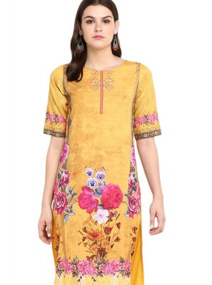 Faux Crepe Print Yellow Party Wear Kurti